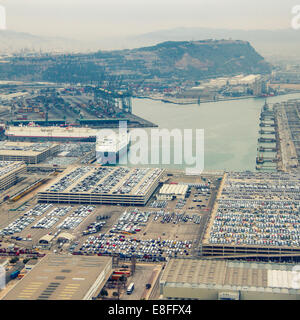 Aerial View of sea port - Stock Photo