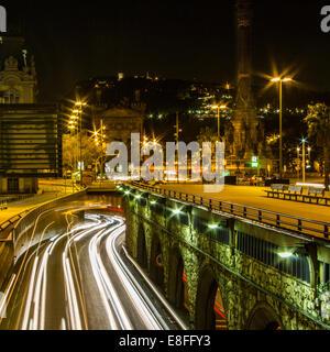 Light trails in the city, Barcelona, Catalonia, Spain - Stock Photo