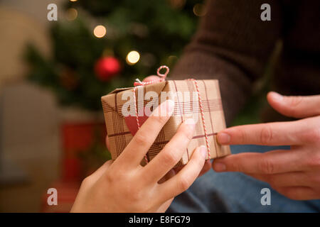 Couple exchanging christmas gifts - Stock Photo