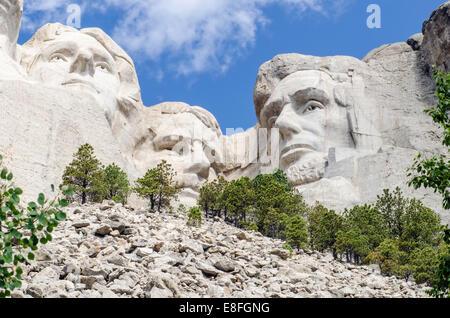 USA, South Dakota, Mount Rushmore, View of Mt Rushmore National Monument - Stock Photo