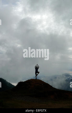 Nepal Person In Yoga Pose - Stock Photo