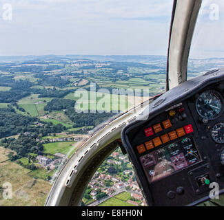 Rural landscape from inside a helicopter, England, UK - Stock Photo