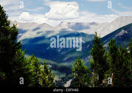 USA, Rocky Mountains with shadows from clouds - Stock Photo