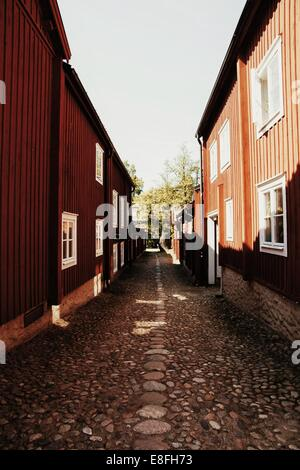 Cobbled street in Sweden - Stock Photo