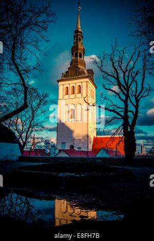 Estonia, Tallinn, View of St. Nicholas' Church - Stock Photo