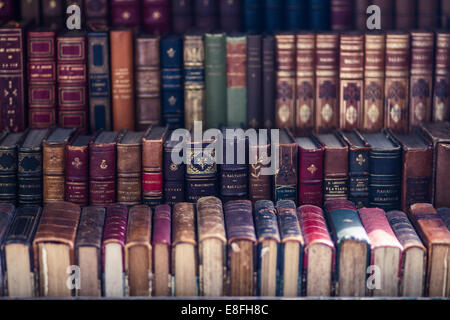 Close up of old antique books - Stock Photo