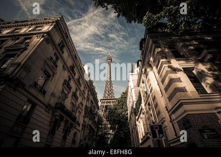 France, Paris, Eiffel Tower seen from street - Stock Photo