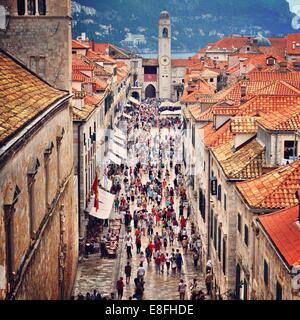 Croatia, Dubrovnik, Street full of people - Stock Photo