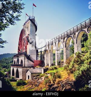 Isle of Man, Laxey, Laxey Wheel - Stock Photo