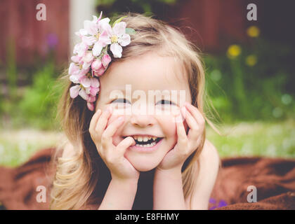 Portrait of a girl laughing - Stock Photo
