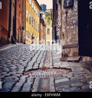 Sweden, Svealand, Stockholm,  Manhole cover in cobbled street - Stock Photo