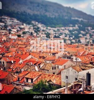Croatia, Dubrovnik, View of city rooftops - Stock Photo