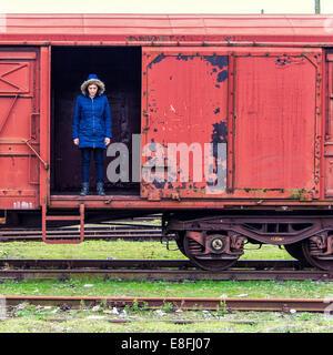 Croatia, Zagreb, Women on old train - Stock Photo
