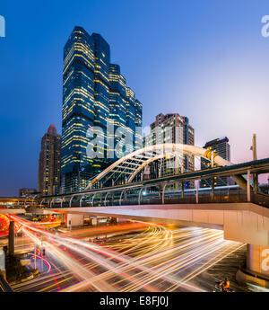 Thailand, Bangkok, Bang Rak District, View of Chong Nonsi BTS Station at night - Stock Photo