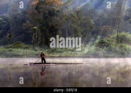 Indonesia, West Java, Karawang, Situ Gunung, Fishermen - Stock Photo