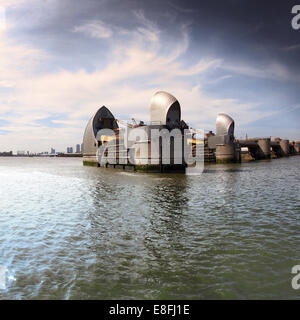 Thames Barrier, London, England, UK - Stock Photo