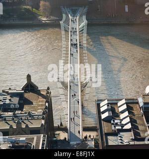 Aerial view of Millennium Bridge, London, England, UK - Stock Photo