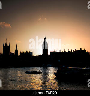 Houses of Parliament and Big Ben at sunset, London, England, UK - Stock Photo