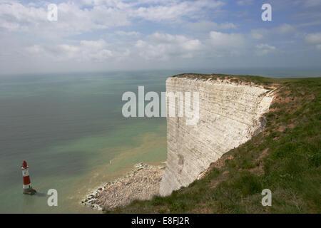 Lighthouse, Beachy Head, Eastbourne, East Sussex, England, United Kingdom - Stock Photo