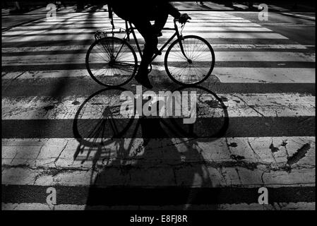 USA, New York City, Close up of cycling person - Stock Photo