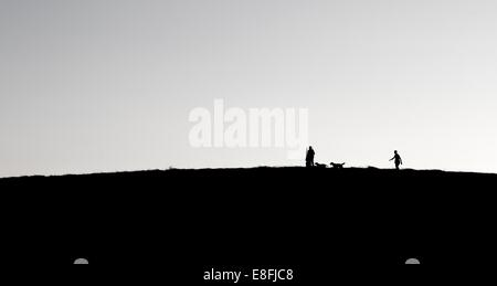 Father, Daughter and son walking with dogs on hill - Stock Photo