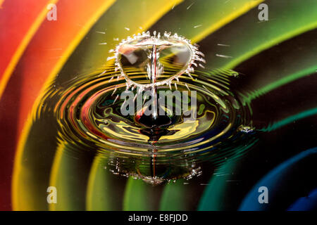 Water drops on bubble with rainbow background - Stock Photo