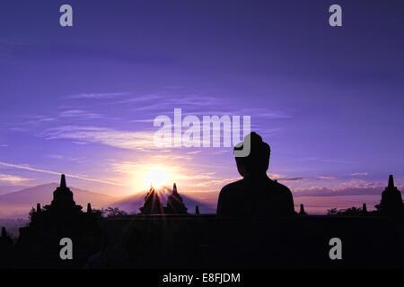 Indonesia, Java, Magelang, Silhouette of Borobudur Temple - Stock Photo