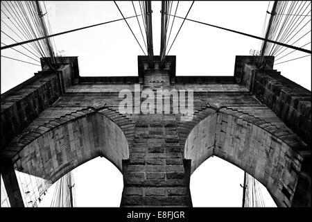 Part of the Brooklyn Bridge, Manhattan, New York, United States - Stock Photo
