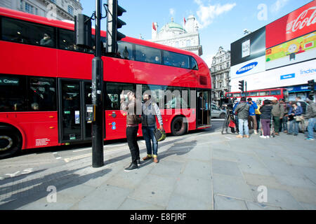 London, UK. 7th October, 2014. Indian film crew and cast of Bollywood film Romeo and Juliet in Piccadilly Circus - Stock Photo