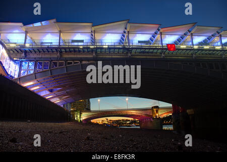 London, UK Blackfriars Bridges - Stock Photo