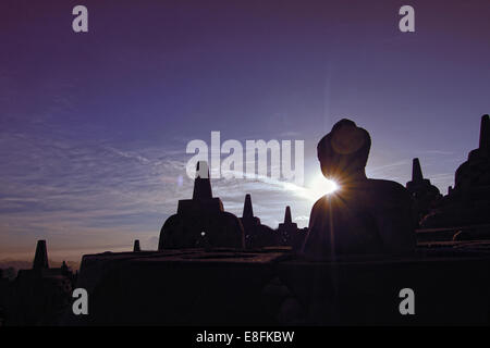 Indonesia, Central Java, Magelang, Silhouette of Borobudur Temple - Stock Photo