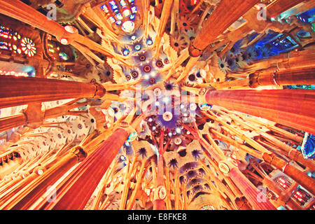 Spain, Barcelona, Sagrada Familia, Ceiling - Stock Photo