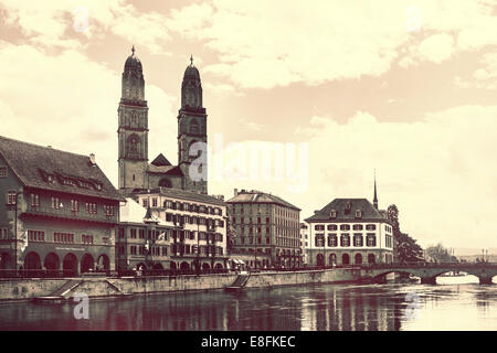 Switzerland, Zurich, View at Limmat river and towers - Stock Photo
