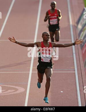 Jonathan Ndiku (KEN) wins the Gold Medal - Mens 3000m Steeplechase Final. Athletics - Hampden Park - Glasgow - UK - Stock Photo