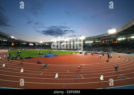 motion blur - James Ellington (ENG) (Lane 6) runs the 1st leg - Round 1, Heat 3, Mens 4 x 100m Relay. Athletics - Stock Photo