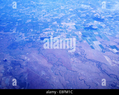Nevada, United States of America Agriculture, Rivers And Desert From Above - Stock Photo