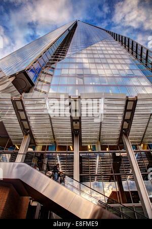 United Kingdom, London, Upward view of Shard of Glass - Stock Photo
