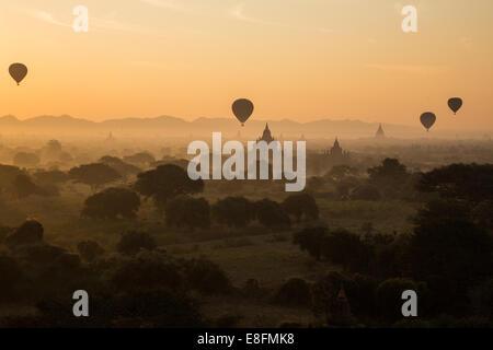 Myanmar Hot Air Balloons At The Sunrise, Bagan - Stock Photo