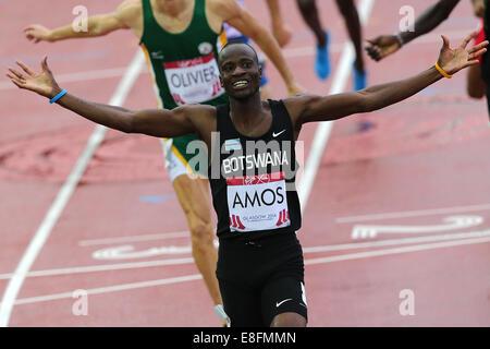 Nijel Amos (BOT) wins the Gold Medal and celebrates - Mens 800m Final. Athletics - Hampden Park - Glasgow - UK  - Stock Photo