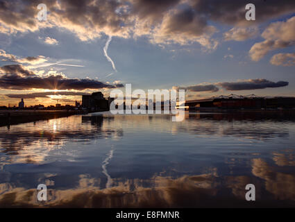 United Kingdom, England, London, Royal Victoria Docks at Canary Wharf - Stock Photo