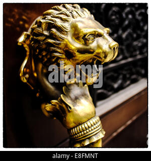 USA, New York State, New York City, Close up of gold lion - Stock Photo