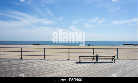 Aircraft flying over Brighton Beach, New York State, USA - Stock Photo