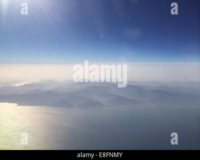 Aerial view of mountain range in early morning light