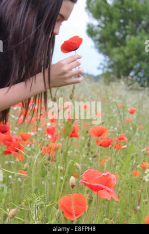 Girl picking and smelling pop flower - Stock Photo