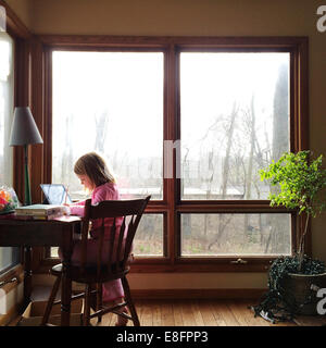 Girl sitting at her desk studying - Stock Photo