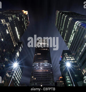 Canary Wharf at night, London, England, UK - Stock Photo
