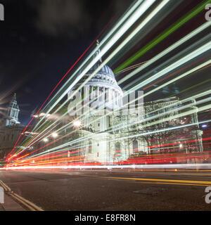 United Kingdom, London, St Pauls Cathedral at night - Stock Photo