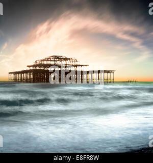 United Kingdom, Brighton, View of West Pier - Stock Photo