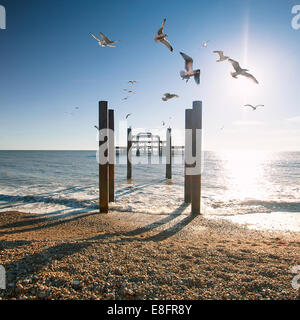 Brighton West Pier, East Sussex, England, UK - Stock Photo