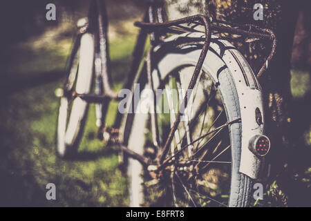 Norway, Close-up of old bicycle - Stock Photo